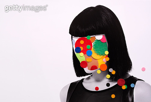 collage of woman with felt circles on head - gettyimageskorea