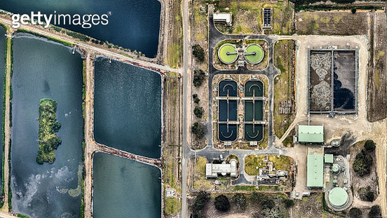 Aerial view of water treatment facility. Victoria, Australia - gettyimageskorea