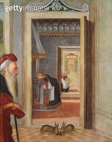 <b>Title</b> : The Birth of the Virgin, detail of servants in the background, 1504-08 (oil on canvas)Additional InfoLa Naissance de la Vierge;<br><b>Medium</b> : oil on canvas<br><b>Location</b> : Galleria dell' Accademia Carrara, Bergamo, Italy<br> - gettyimageskorea