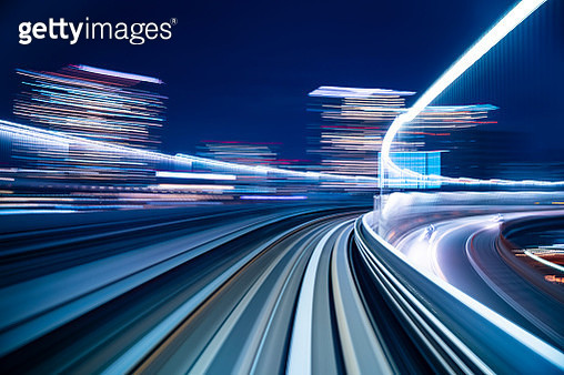 High speed abstract MRT track of motion light for design background - gettyimageskorea