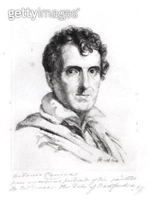<b>Title</b> : Portrait of Antonio Canova (1757-1822) 1817 (engraving) (b/w photo)Additional Infofrom portrait commissioned by Duke of Bedford<br><b>Medium</b> : engraving<br><b>Location</b> : Private Collection<br> - gettyimageskorea
