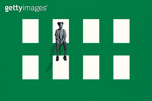 lonely young woman sitting on green grid window - gettyimageskorea