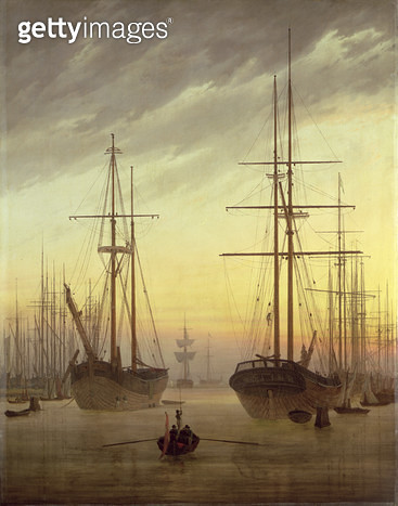 <b>Title</b> : View of a Harbour, 1815-16 (oil on canvas)<br><b>Medium</b> : oil on canvas<br><b>Location</b> : Schloss Sanssouci, Potsdam, Brandenburg, Germany<br> - gettyimageskorea