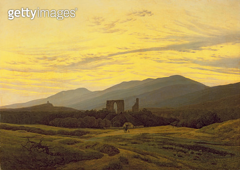 <b>Title</b> : Ruins in the Riesengebirge, 1830-34 (oil on canvas)<br><b>Medium</b> : <br><b>Location</b> : Stadtmuseum, Greifswald, Germany<br> - gettyimageskorea