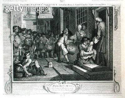 <b>Title</b> : The Industrious 'Prentice out of his Time and Married to his Master's Daughter, plate VI of 'Industry and Idleness', published 1<br><b>Medium</b> : engraving<br><b>Location</b> : Guildhall Library, City of London<br> - gettyimageskorea