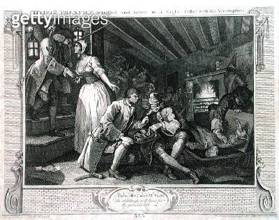 <b>Title</b> : The Idle 'Prentice Betrayed by a Prostitute, plate IX of 'Industry and Idleness', published 1833 (engraving)Additional Infoappre<br><b>Medium</b> : engraving<br><b>Location</b> : Guildhall Library, City of London<br> - gettyimageskorea