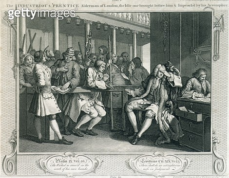 <b>Title</b> : The Industrious 'Prentice Alderman of London, the Idle one Impeach'd Before Him by his Accomplice, plate X of 'Industry and Idle<br><b>Medium</b> : <br><b>Location</b> : Guildhall Library, City of London<br> - gettyimageskorea