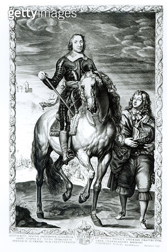 <b>Title</b> : Equestrian portrait of Oliver Cromwell (1599-1658) engraved by Pierre Lombart (1612-80) (engraving) (b/w photo)Additional Infohe<br><b>Medium</b> : <br><b>Location</b> : Private Collection<br> - gettyimageskorea