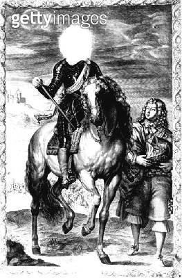 <b>Title</b> : Headless equestrian portrait originally of Louis of France, engraved by Pierre Lombard (1612-80) (engraving) (b/w photo) (See 10<br><b>Medium</b> : engraving<br><b>Location</b> : Private Collection<br> - gettyimageskorea