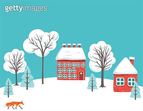 Cute Houses On Snowy Hills - gettyimageskorea