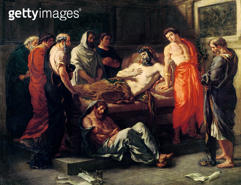 <b>Title</b> : Study for The Death of Marcus Aurelius (121-180), before 1844 (oil on canvas<br><b>Medium</b> : oil on canvas<br><b>Location</b> : Musee des Beaux-Arts, Lyon, France<br> - gettyimageskorea