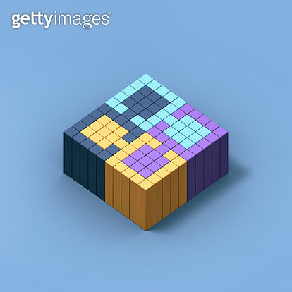 Puzzle made of cubes - digitally generated image - gettyimageskorea