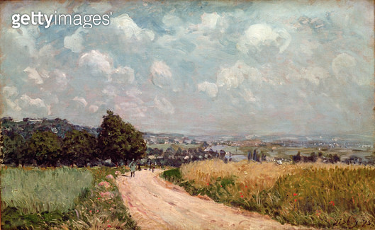 <b>Title</b> : Turning Road or, View of the Seine, 1875 (oil on canvas)Additional InfoRoute Tournant ou Vue de la Seine;<br><b>Medium</b> : oil on canvas<br><b>Location</b> : Private Collection<br> - gettyimageskorea