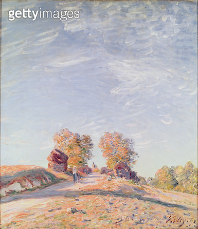 <b>Title</b> : Uphill Road in Sunshine, 1891 (oil on canvas)<br><b>Medium</b> : oil on canvas<br><b>Location</b> : Musee des Beaux-Arts, Rouen, France<br> - gettyimageskorea