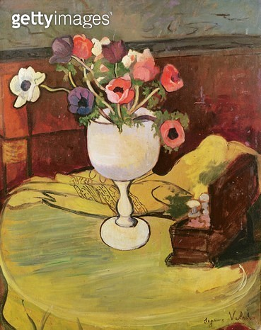 <b>Title</b> : Vase of Flowers, Anemones in a White Glass (oil on canvas)Additional InfoVase de Fleurs, Anemones au Verre Blanc;<br><b>Medium</b> : <br><b>Location</b> : Musee Toulouse-Lautrec, Albi, France<br> - gettyimageskorea
