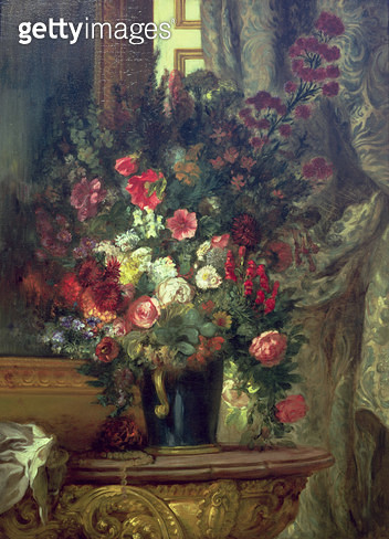 <b>Title</b> : Vase of Flowers on a Console, 1848-49 (oil on canvas)Additional InfoVase de Fleurs a la Console;<br><b>Medium</b> : oil on canvas<br><b>Location</b> : Musee Ingres, Montauban, France<br> - gettyimageskorea