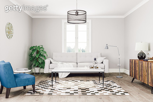 Interior of a Scandinavian / retro designed living room. - gettyimageskorea