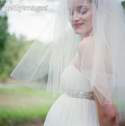 Pregnant bride wearing veil - gettyimageskorea