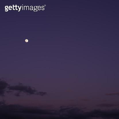 자주빛 하늘에 뜬 달 - gettyimageskorea