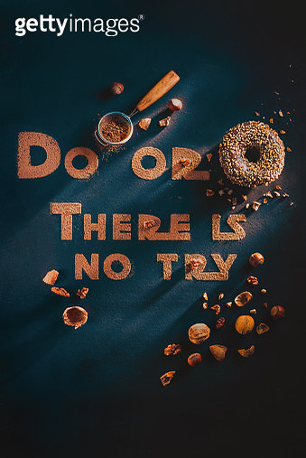 Cocoa lettering with motivational quote and donuts, dark flat lay with sweets - gettyimageskorea
