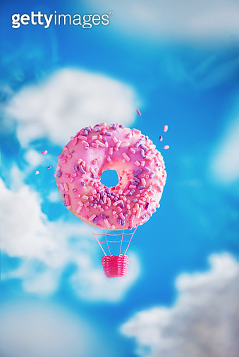Donut hot air balloon, pink donut in the clouds, creative food photography - gettyimageskorea
