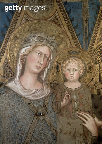 <b>Title</b> : Maesta, detail of the Madonna and Child, 1315 (fresco) (detail of 51591 and 79367)<br><b>Medium</b> : <br><b>Location</b> : Palazzo Pubblico, Siena, Italy<br> - gettyimageskorea