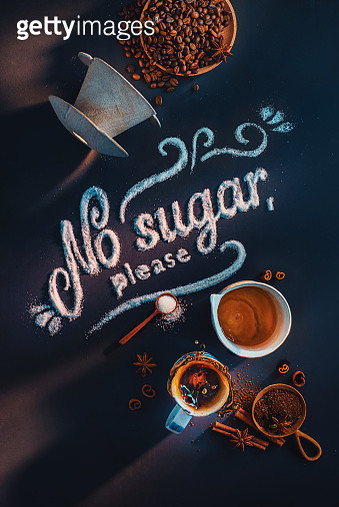 Coffee flat lay with No Sugar in My Coffee lettering, ceramic pour-over, pitcher and coffee splash - gettyimageskorea