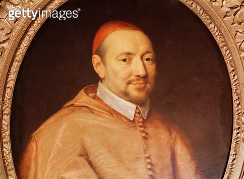 <b>Title</b> : Portrait of Cardinal Pierre de Berulle (1575-1629) (oil on canvas) (detail)<br><b>Medium</b> : oil on canvas<br><b>Location</b> : Private Collection<br> - gettyimageskorea