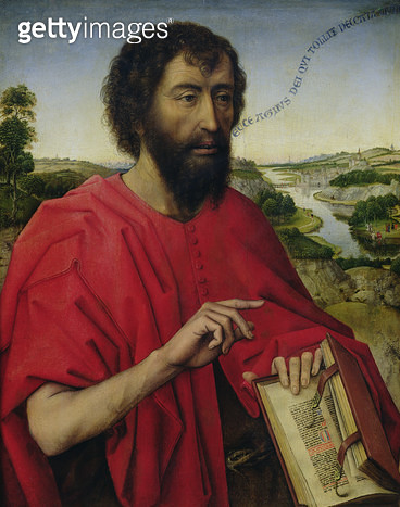 <b>Title</b> : St. John the Baptist, left hand panel of the Triptych of the Braque Family (oil on panel)<br><b>Medium</b> : oil on panel<br><b>Location</b> : Louvre, Paris, France<br> - gettyimageskorea