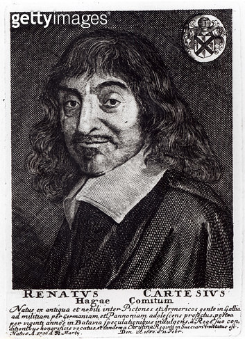 <b>Title</b> : Portrait of Rene Descartes (1596-1650) (engraving) (b&w photo)<br><b>Medium</b> : engraving<br><b>Location</b> : Private Collection<br> - gettyimageskorea