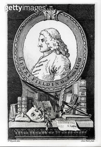 <b>Title</b> : Henry Fielding (1707-54) at the Age of Forty Eight, engraved by James Basire (engraving) (b&w photo)<br><b>Medium</b> : engraving<br><b>Location</b> : Private Collection<br> - gettyimageskorea