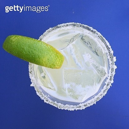 Directly Above Shot Of Drink Against Blue Background - gettyimageskorea