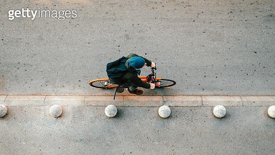 Urban cyclist on the street - gettyimageskorea