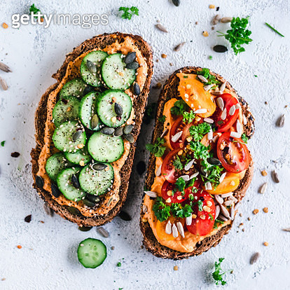 Paprika Hummus toasts with tomato and cucumber - gettyimageskorea