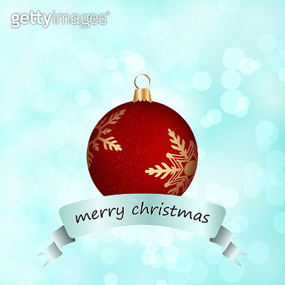 A creative merry christmas vector Illustration  - Glittery Red Bauble over light blue glittery background, with partially visible golden snowflakes. Merry Christmas label beneath the snowflake - gettyimageskorea