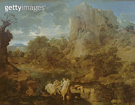 <b>Title</b> : Landscape with Hercules and Cacus, c.1656 (oil on canvas)Additional InfoPaysage avec Hercule et Cacus; Cacus was fire-breathing<br><b>Medium</b> : oil on canvas<br><b>Location</b> : Pushkin Museum, Moscow, Russia<br> - gettyimageskorea