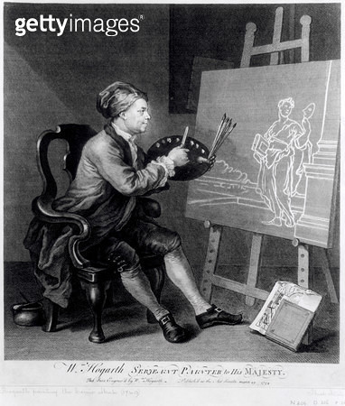 <b>Title</b> : Self Portrait Painting the Comic Muse, engraved by the artist, pub. 1758 (engraving)<br><b>Medium</b> : engraving<br><b>Location</b> : Private Collection<br> - gettyimageskorea