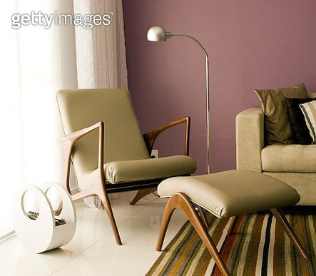 Furniture With Electric Lamp Arranged At Home - gettyimageskorea
