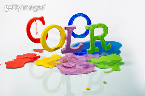 wooden typefaces and acrylic colors - gettyimageskorea
