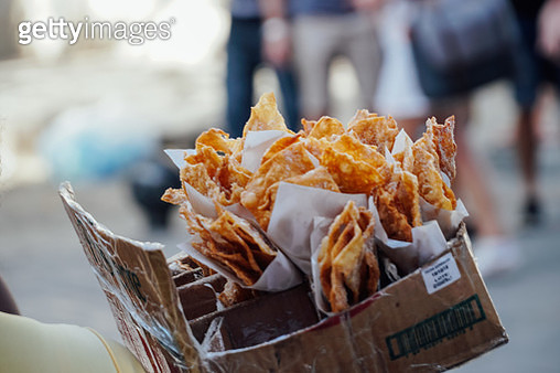 Close-Up Of Nacho Chips In Box At Market For Sale - gettyimageskorea