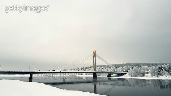 View Of Suspension Bridge During Winter - gettyimageskorea
