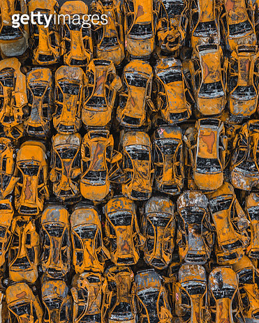 Drone image of cars damaged by fire, Savona, Italy - gettyimageskorea