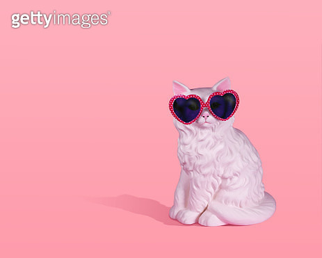 Large white vintage ceramic cat wearing pink and white polka dot sunglasses on a pink background with strong shadow and room for copy. - gettyimageskorea