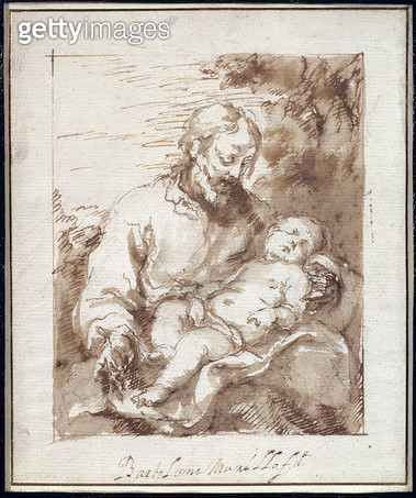 <b>Title</b> : St. Joseph with the Sleeping Christ Child (pen & brown ink & black chalk on paper)<br><b>Medium</b> : pen and brown ink and brown wash over black chalk on paper<br><b>Location</b> : Private Collection<br> - gettyimageskorea