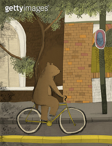 Bear on a bike - gettyimageskorea