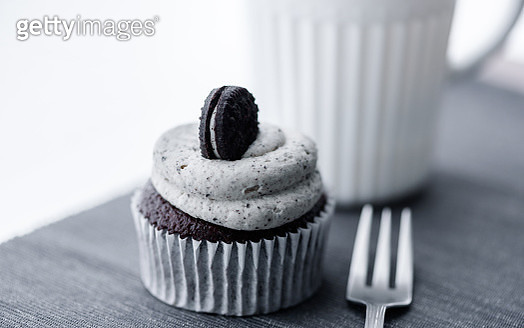 Creamy cupcake and hot chocolate - gettyimageskorea