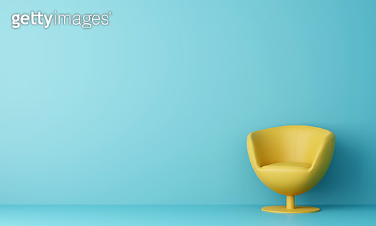 Modern Yellow Sofa In Light Blue Living Room. Minimal Style Concept. Pastel Color Style. 3D Render. - gettyimageskorea