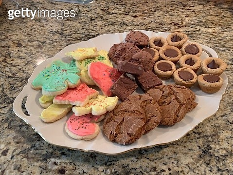 Homemade Holiday Cookie Platter at Christmas - gettyimageskorea