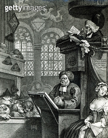 <b>Title</b> : The Sleeping Congregation, 1736 (engraving)Additional Infopreacher is John Theophilus Desaguiliers;<br><b>Medium</b> : engraving<br><b>Location</b> : Guildhall Library, City of London<br> - gettyimageskorea