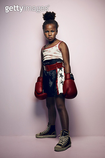 Portrait of cool young female boxer - gettyimageskorea